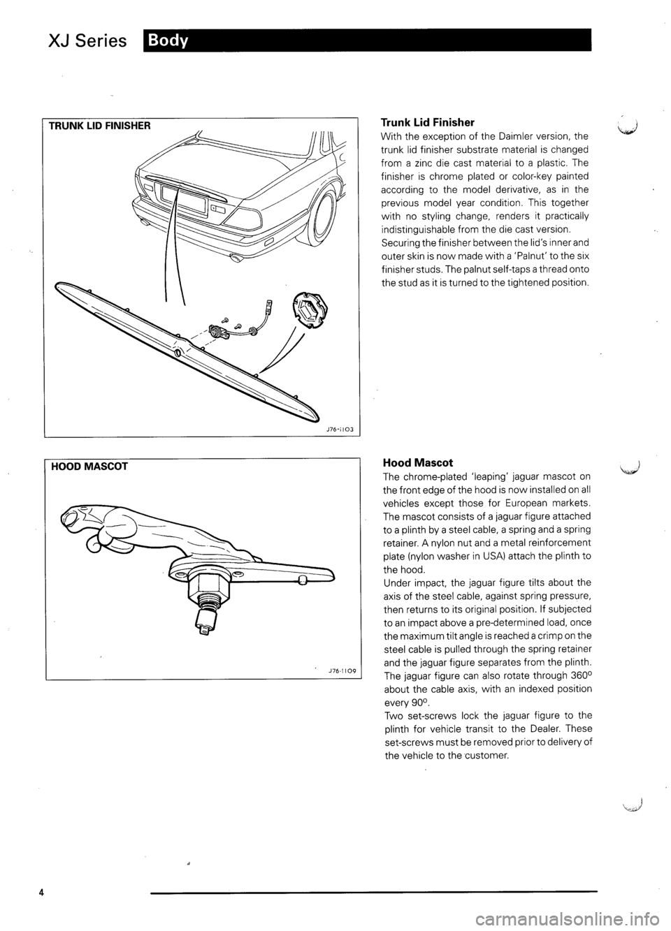 JAGUAR XJ6 1995 2.G Model Year Supplement Manual, Page 7