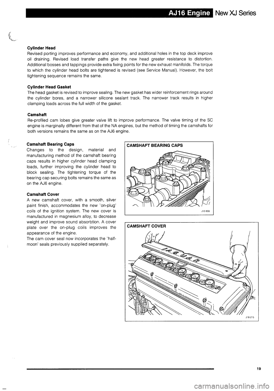 JAGUAR XJ 1995 2.G Technical Information Manual