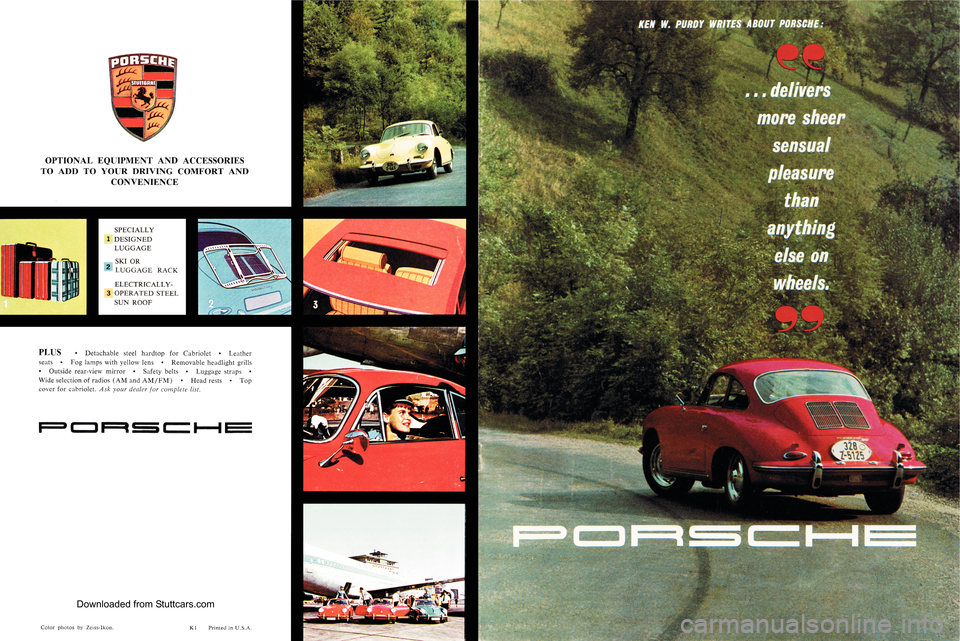 PORSCHE 356 1961 B / 1.G Owners Manual, Page 1