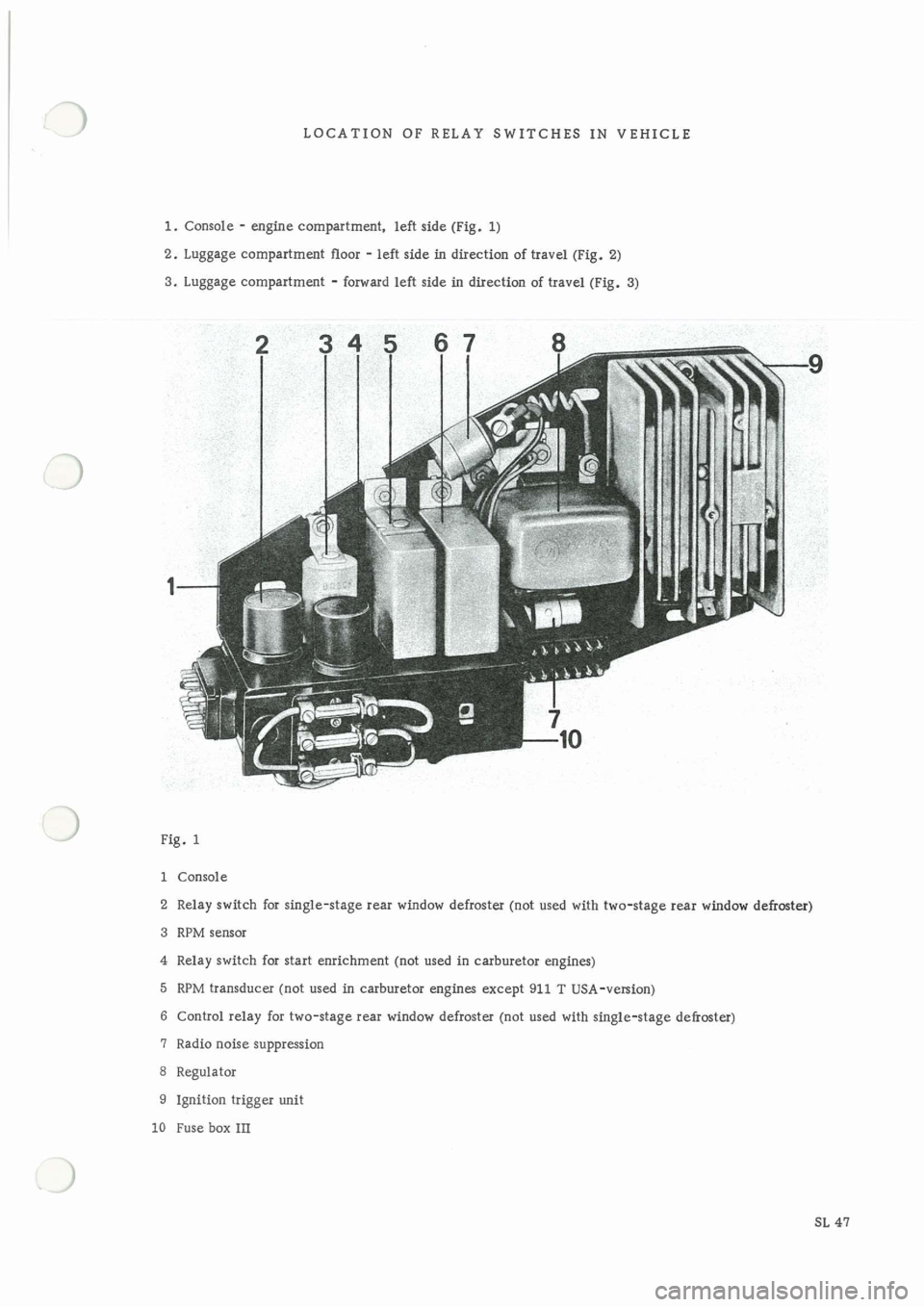 Porsche 911 1969 1g Electrical Diagrams Workshop Manual Fuse Box
