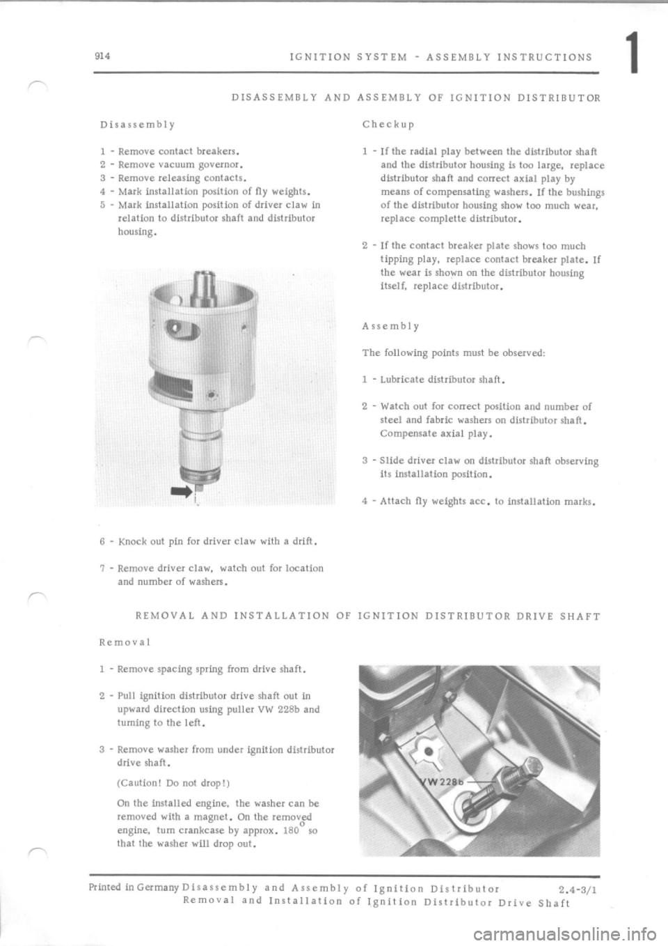 PORSCHE 914 1971 1.G Engine 2 Workshop Manual, Page 2