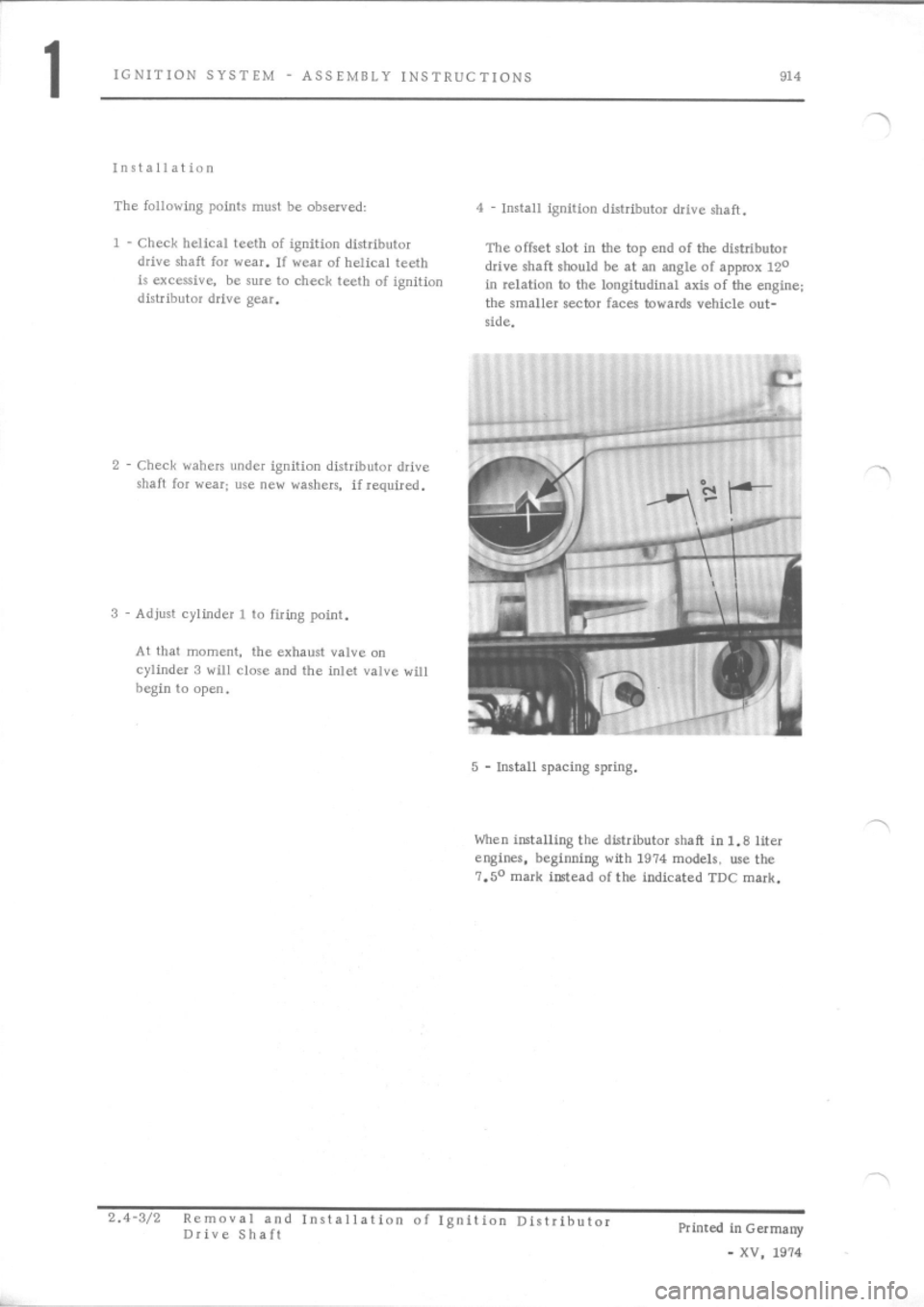 PORSCHE 914 1971 1.G Engine 2 Workshop Manual, Page 3
