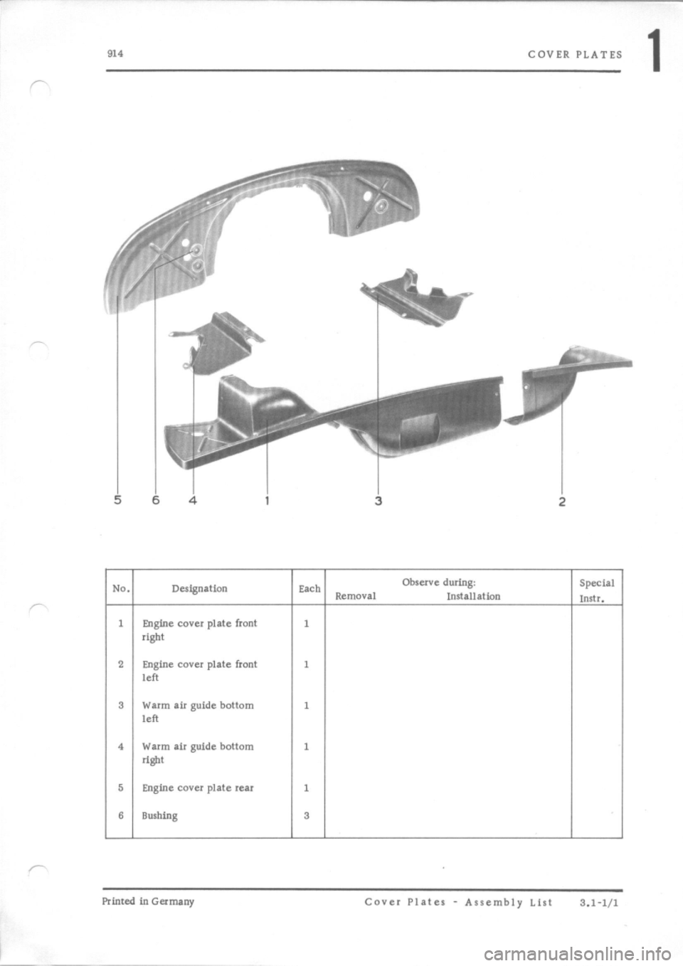 PORSCHE 914 1971 1.G Engine 2 Workshop Manual, Page 4
