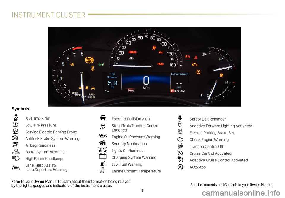 CADILLAC ATS 2017 1.G Personalization Guide 6 INSTRUMENT CLUSTER Refer to your Owner Manual to learn about the information being relayed  by the lights, gauges and indicators of the instrument cluster.  StabiliTrak Off   Low Tire Pressure  Serv