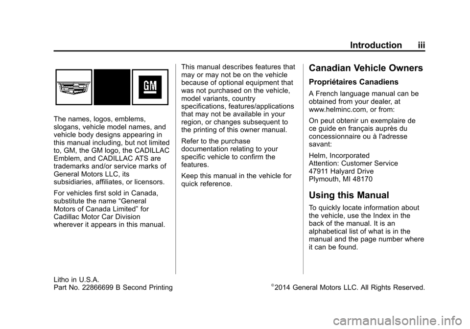 CADILLAC ATS COUPE 2015 1.G Owners Manual, Page 4