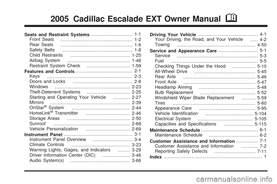 CADILLAC ESCALADE EXT 2005 2.G Owners Manual, Page 1