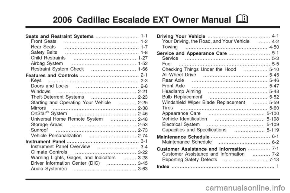 CADILLAC ESCALADE EXT 2006 2.G Owners Manual, Page 1