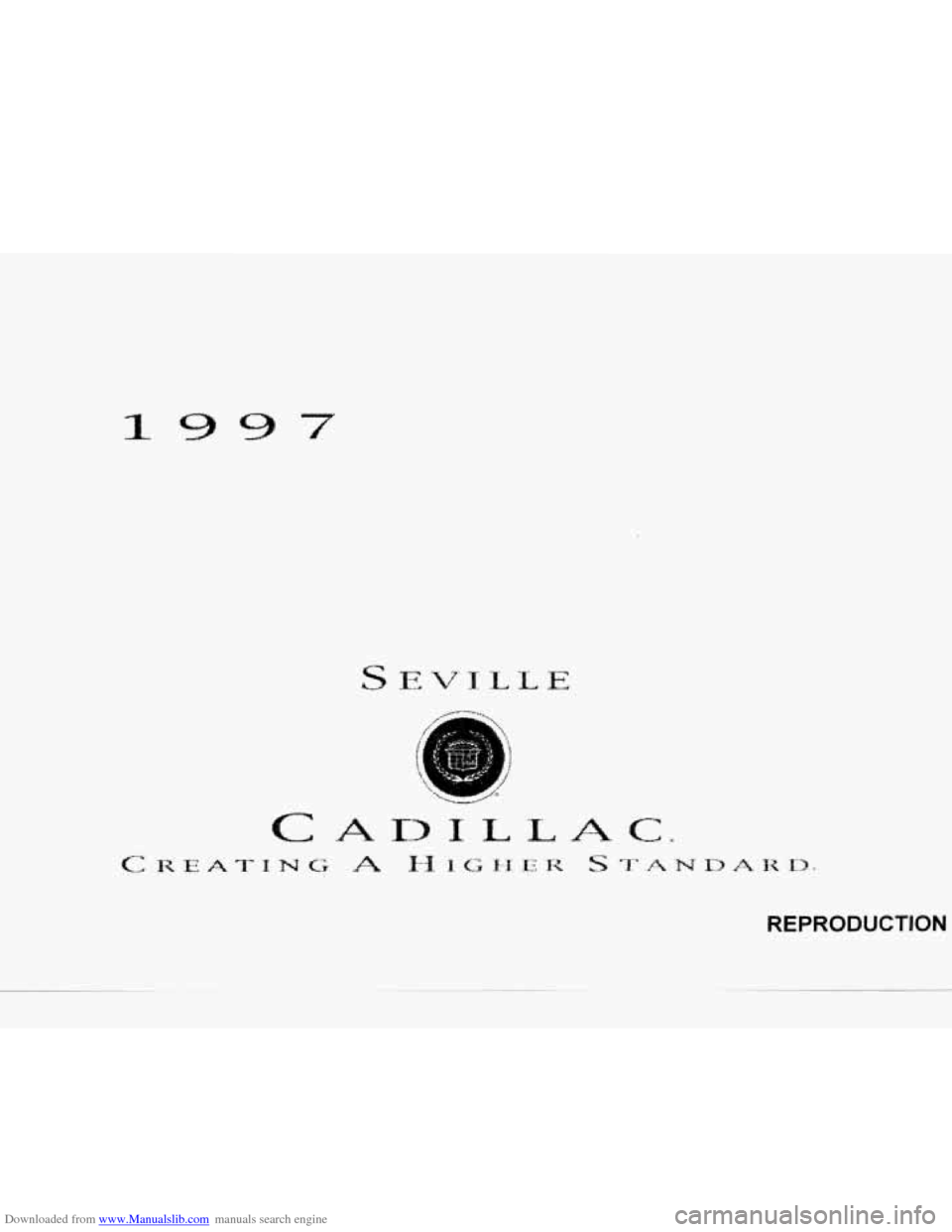 CADILLAC SEVILLE 1997 4.G Owners Manual, Page 1