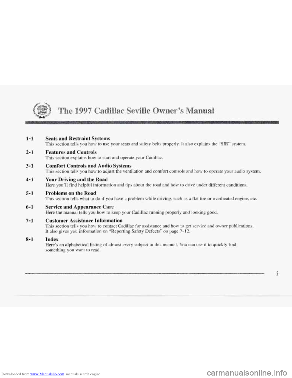 CADILLAC SEVILLE 1997 4.G Owners Manual, Page 2