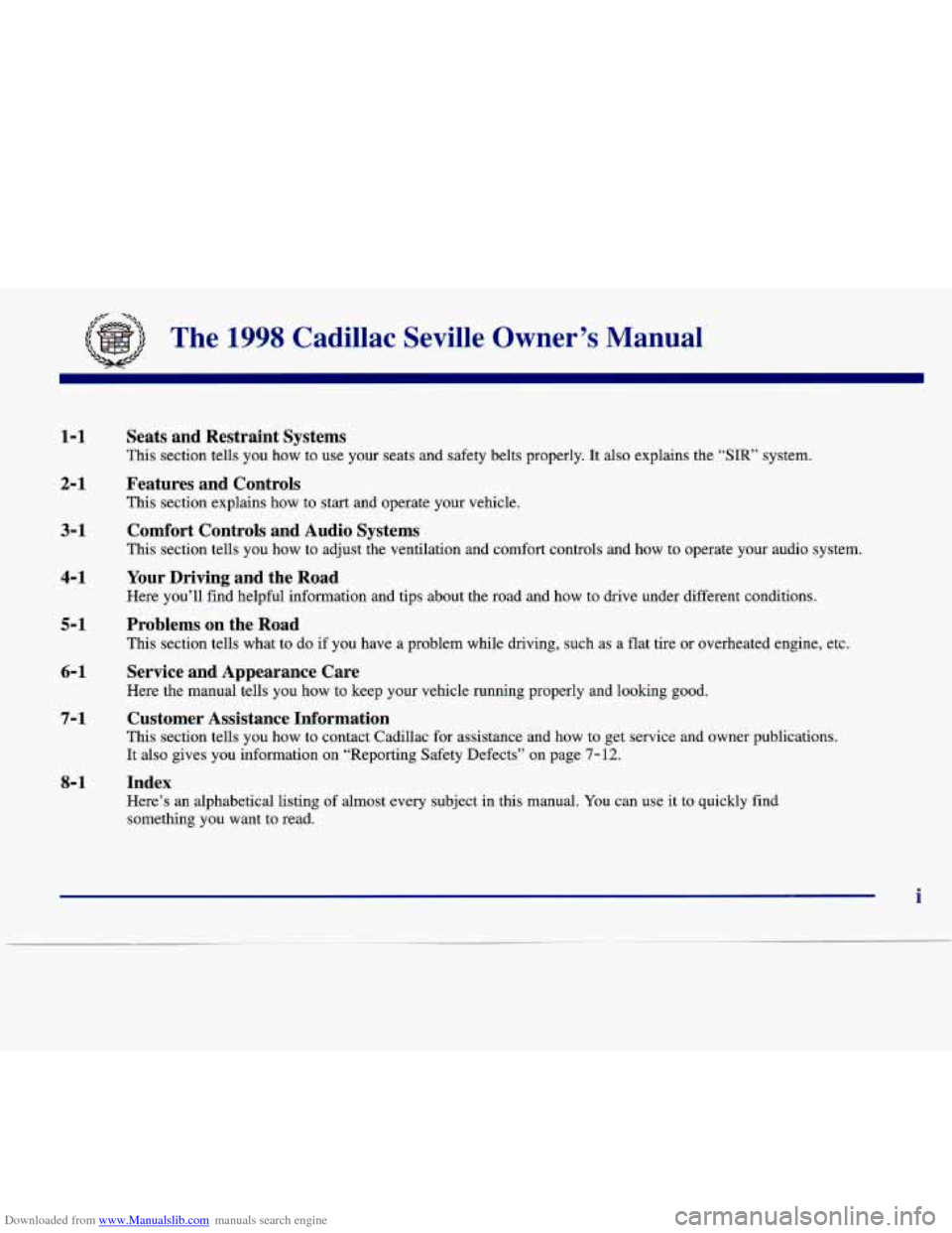 CADILLAC SEVILLE 1998 4.G Owners Manual, Page 6