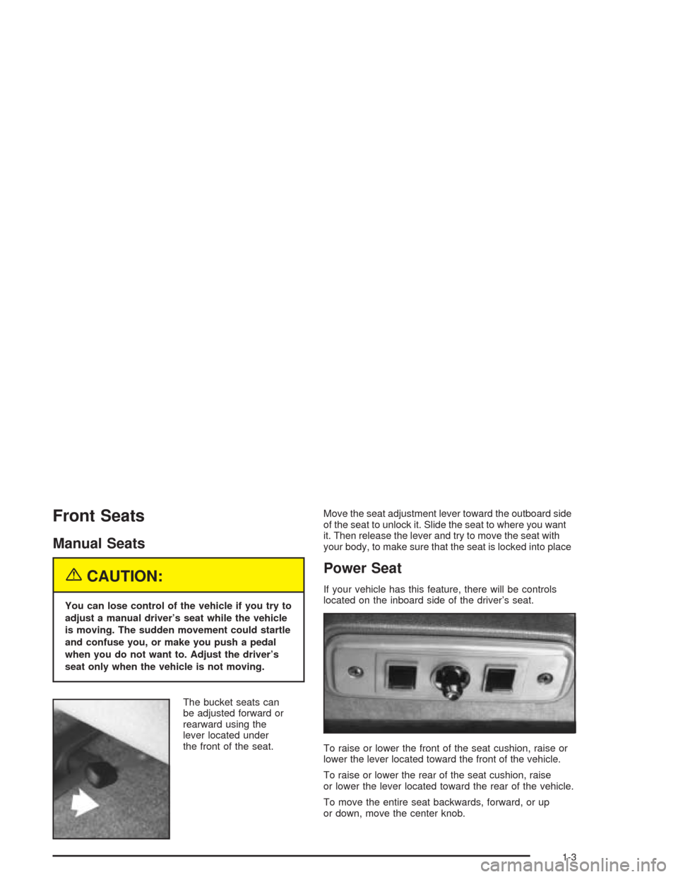 CHEVROLET ASTRO CARGO VAN 2004 2.G Owners Manual, Page 9