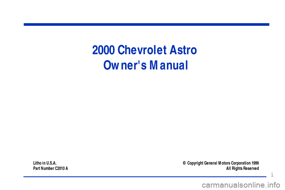 CHEVROLET ASTRO CARGO VAN 2000 2.G Owners Manual, Page 2