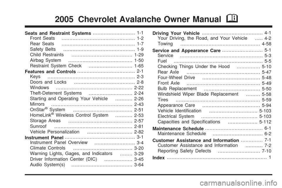 CHEVROLET AVALANCHE 2005 1.G Owners Manual, Page 1