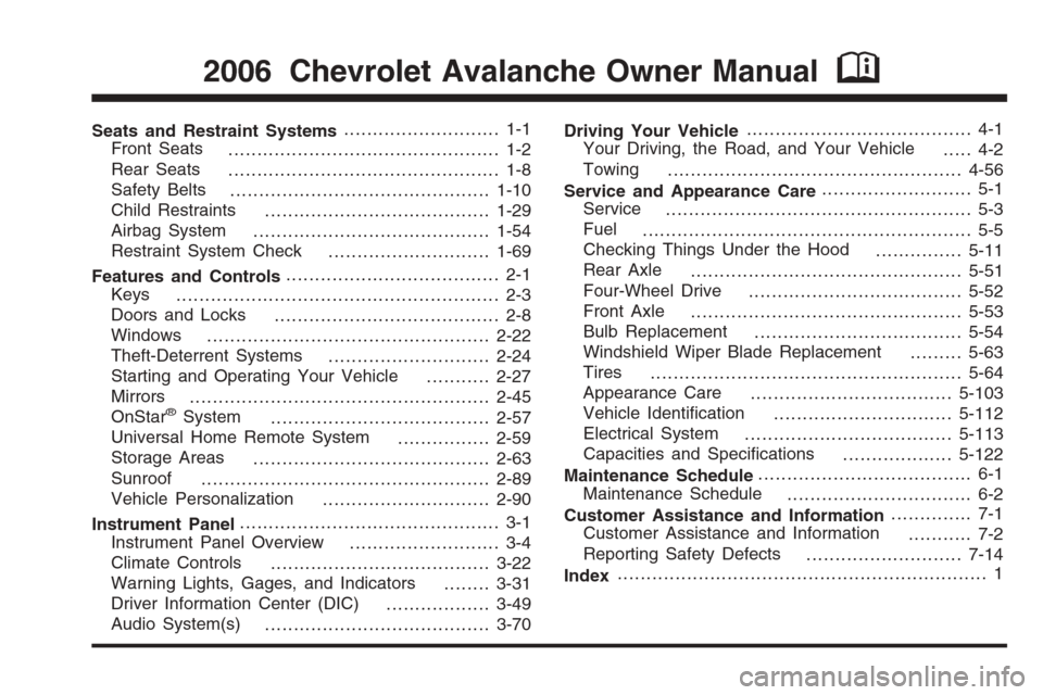 CHEVROLET AVALANCHE 2006 1.G Owners Manual, Page 1