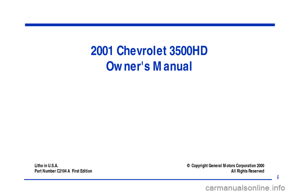 CHEVROLET C3500 HD 2001 4.G Owners Manual, Page 3