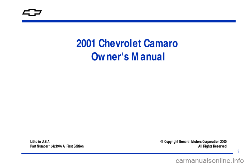 CHEVROLET CAMARO 2001 4.G Owners Manual, Page 3