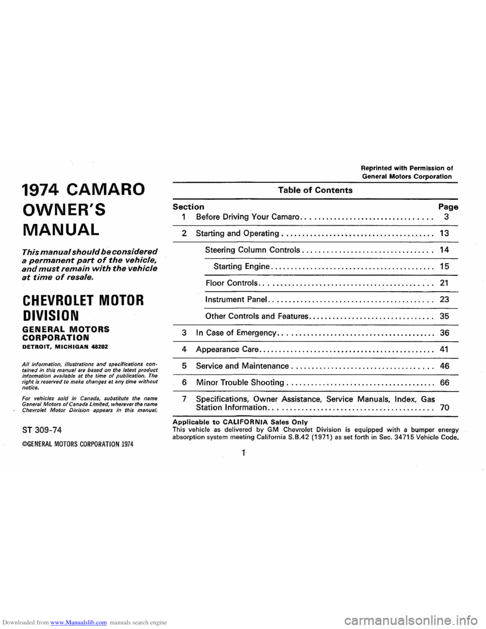 CHEVROLET CAMARO 1974 2.G Owners Manual, Page 4