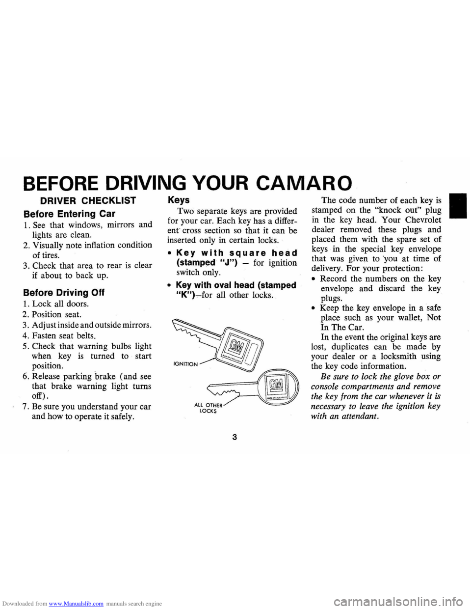 CHEVROLET CAMARO 1974 2.G Owners Manual, Page 6