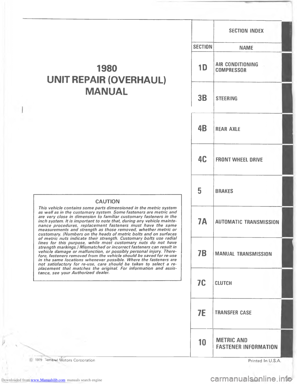 CHEVROLET MALIBU 1980 4.G Workshop Manual, Page 5