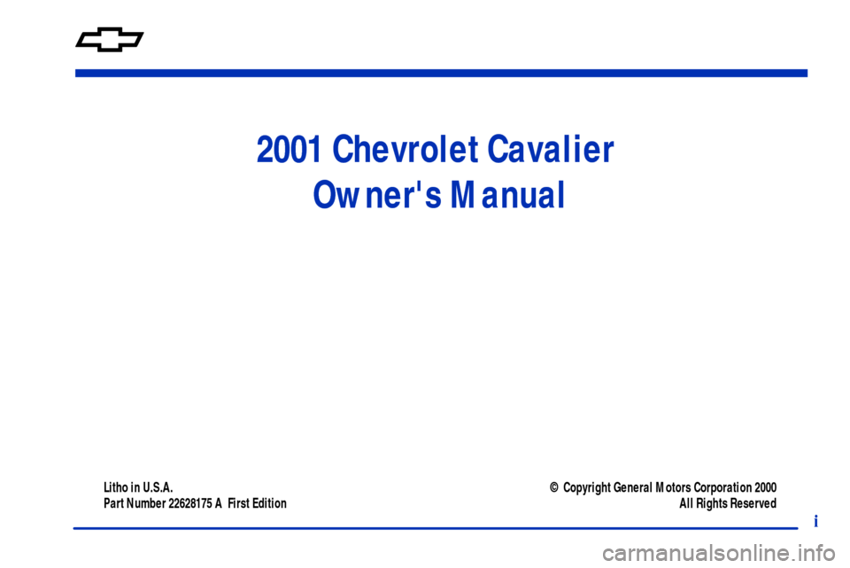 CHEVROLET CAVALIER 2001 3.G Owners Manual, Page 3
