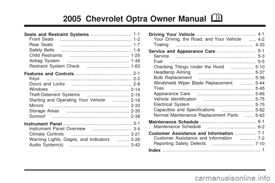 Chevrolet Optra 2016 Owners Manual
