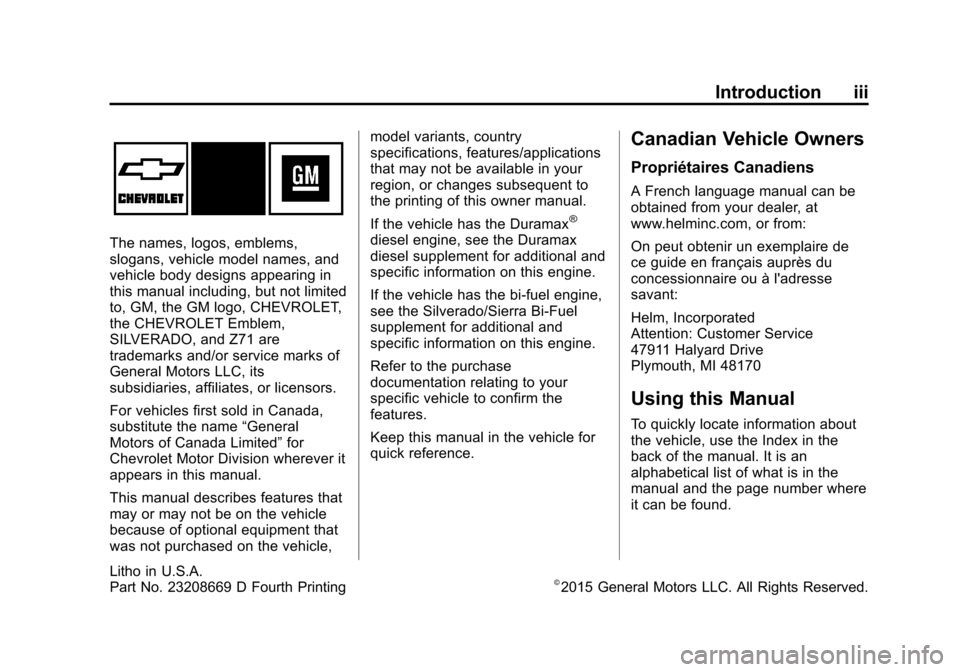 CHEVROLET SILVERADO 2015 3.G Owners Manual, Page 4