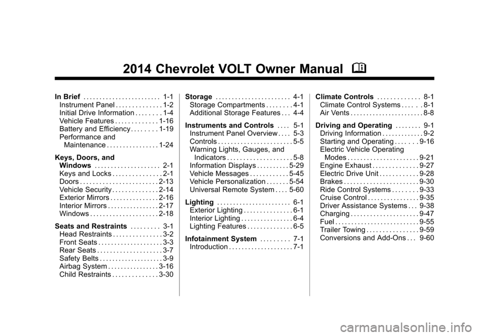 CHEVROLET VOLT 2014 1.G Owners Manual, Page 1