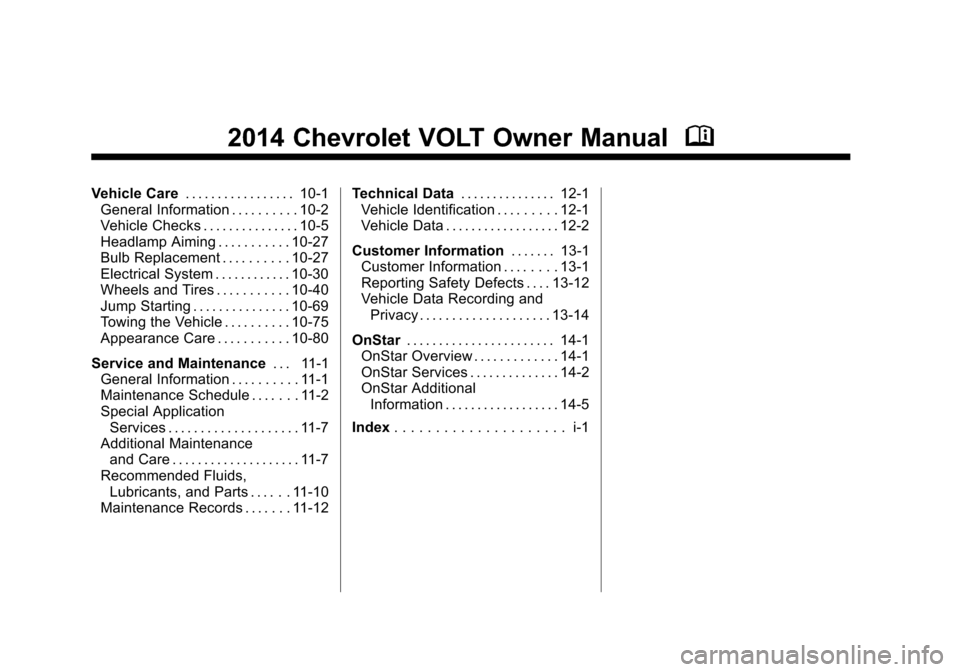 CHEVROLET VOLT 2014 1.G Owners Manual, Page 2