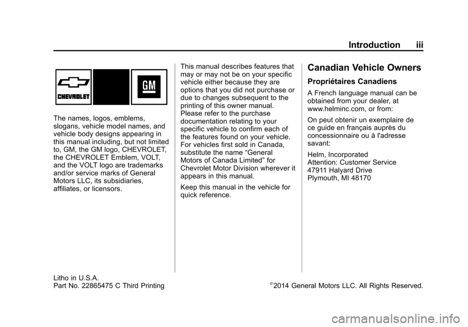 CHEVROLET VOLT 2014 1.G Owners Manual, Page 3