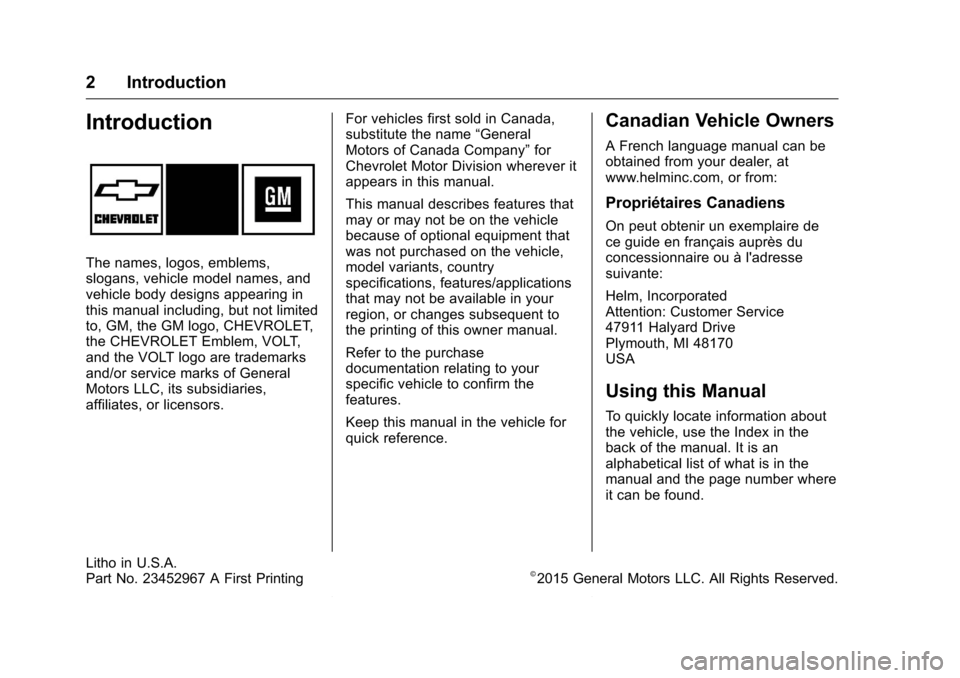 CHEVROLET VOLT 2017 2.G Owners Manual, Page 3
