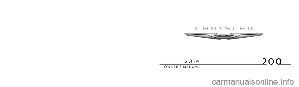 CHRYSLER 200 2013 1.G Owners Manual, Page 1