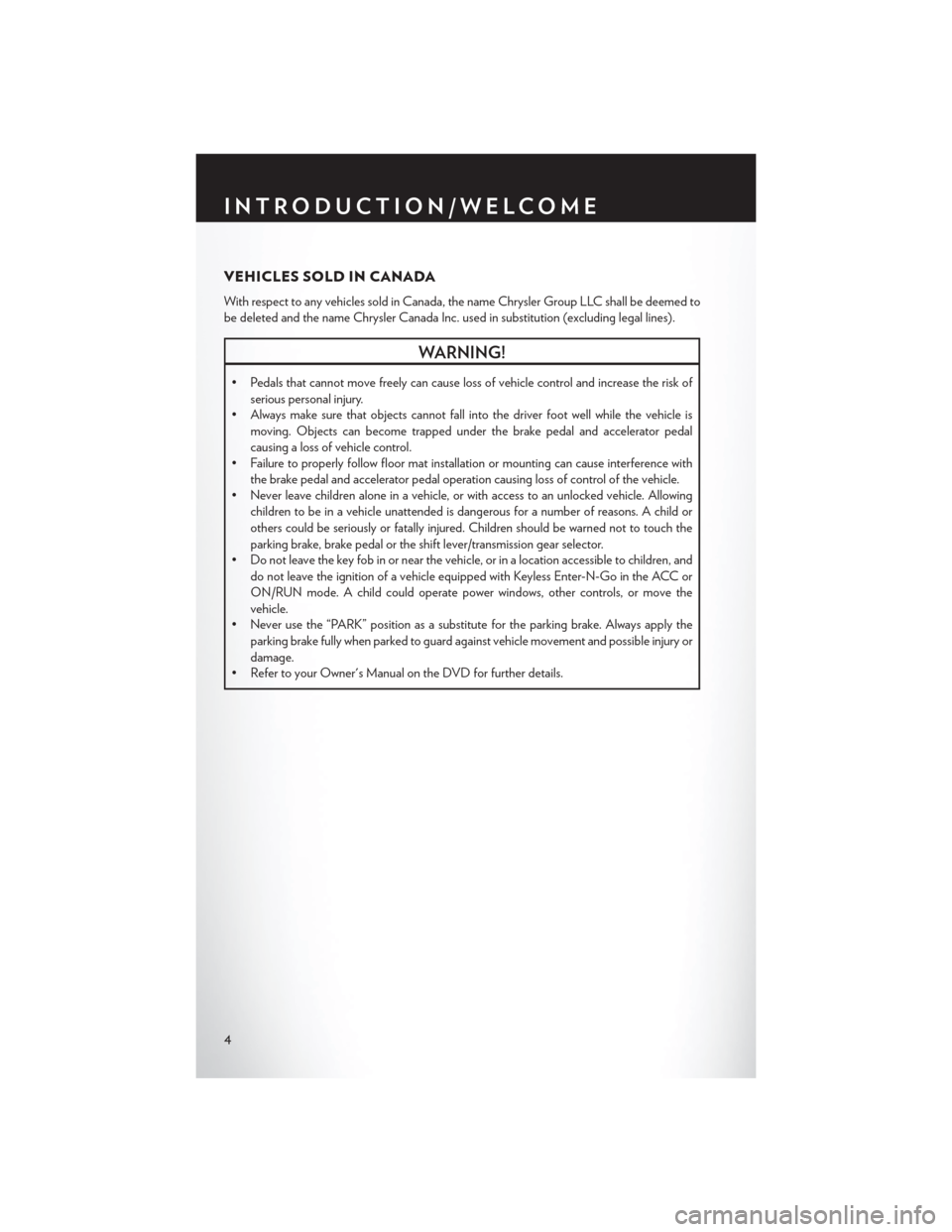 CHRYSLER 200 2015 2.G User Guide, Page 6