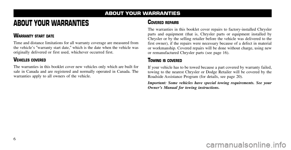 CHRYSLER 200 2011 1.G Warranty Booklet, Page 6