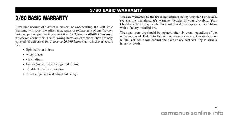 CHRYSLER 200 2011 1.G Warranty Booklet, Page 7