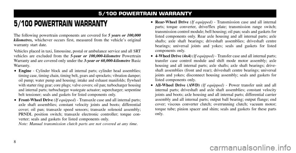 CHRYSLER 200 2011 1.G Warranty Booklet, Page 8