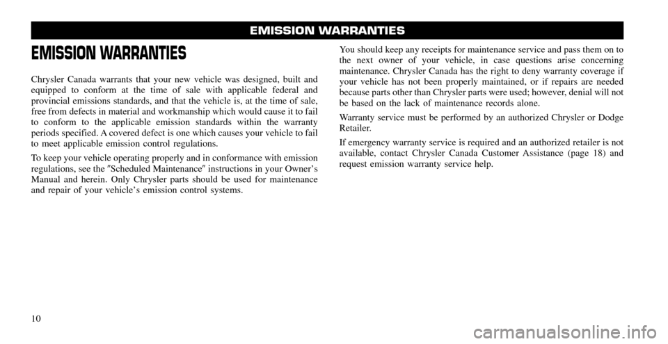 CHRYSLER 200 2011 1.G Warranty Booklet, Page 10