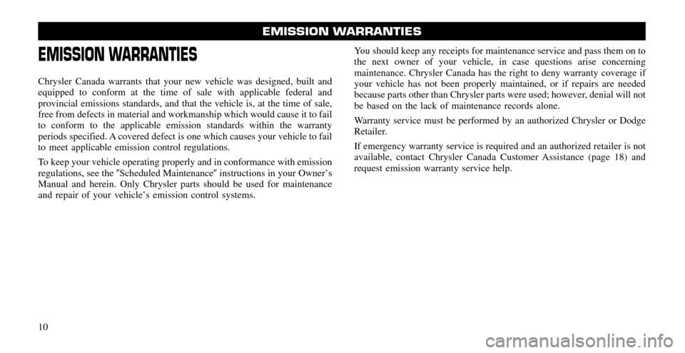 CHRYSLER 300 2011 2.G Warranty Booklet, Page 10