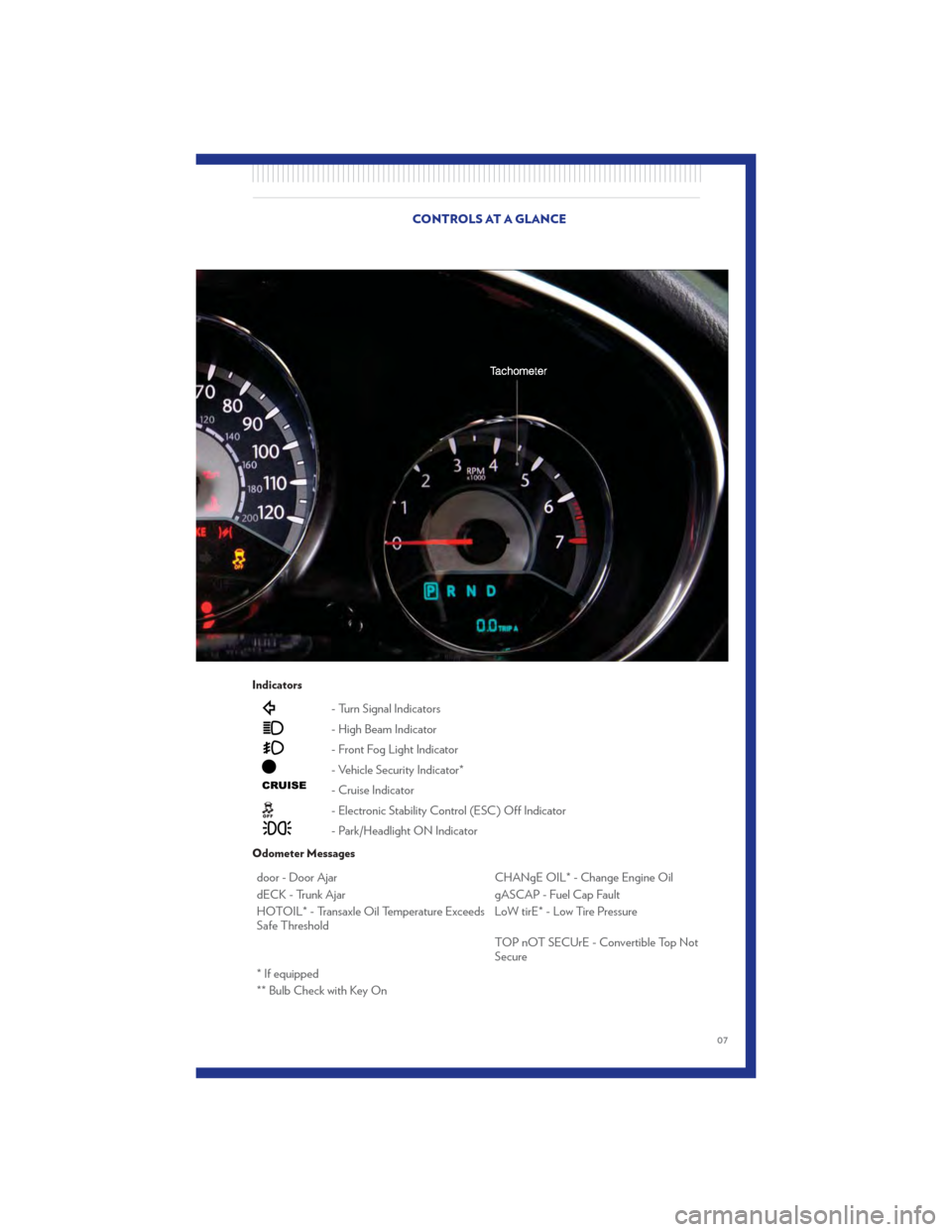 CHRYSLER 200 CONVERTIBLE 2011 1.G User Guide, Page 9