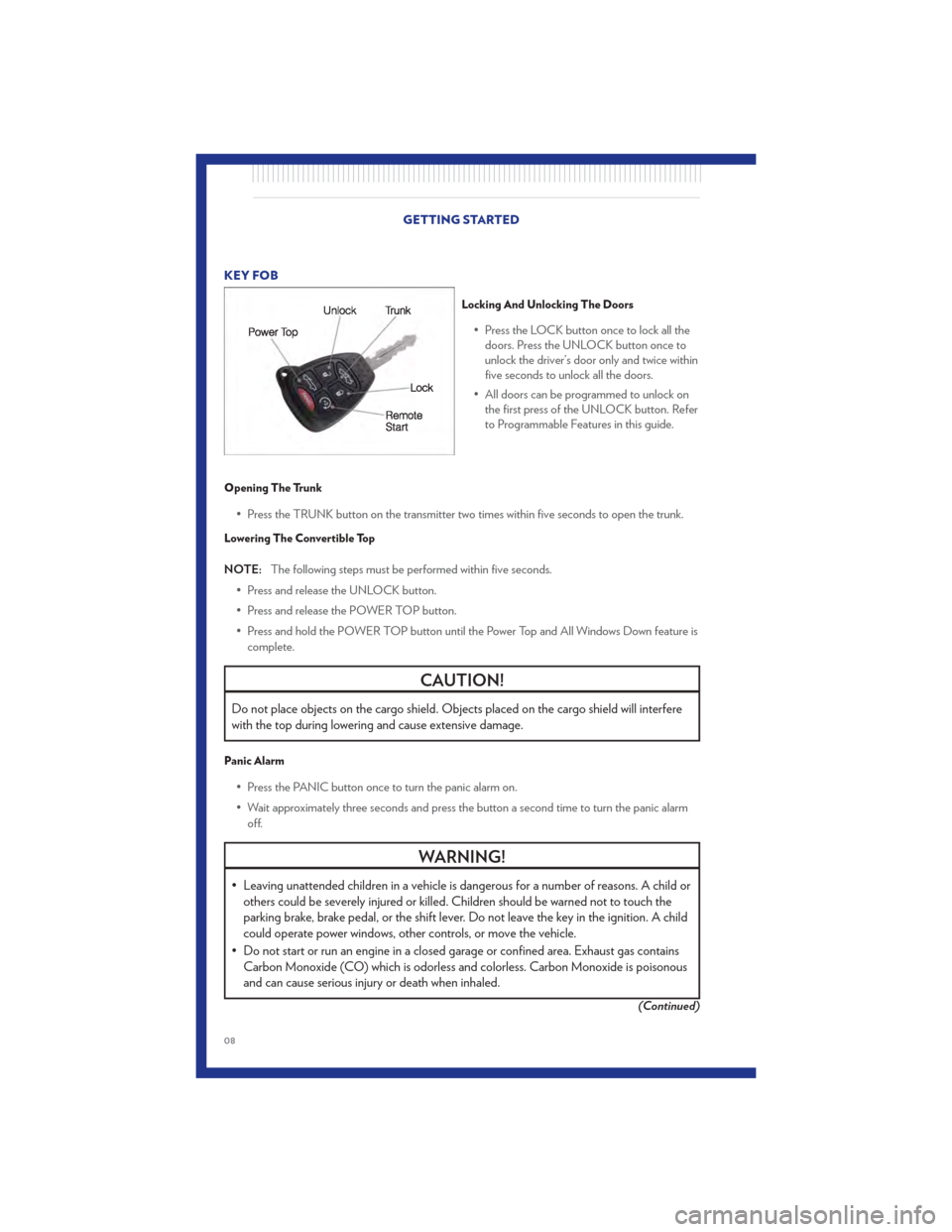 CHRYSLER 200 CONVERTIBLE 2011 1.G User Guide, Page 10