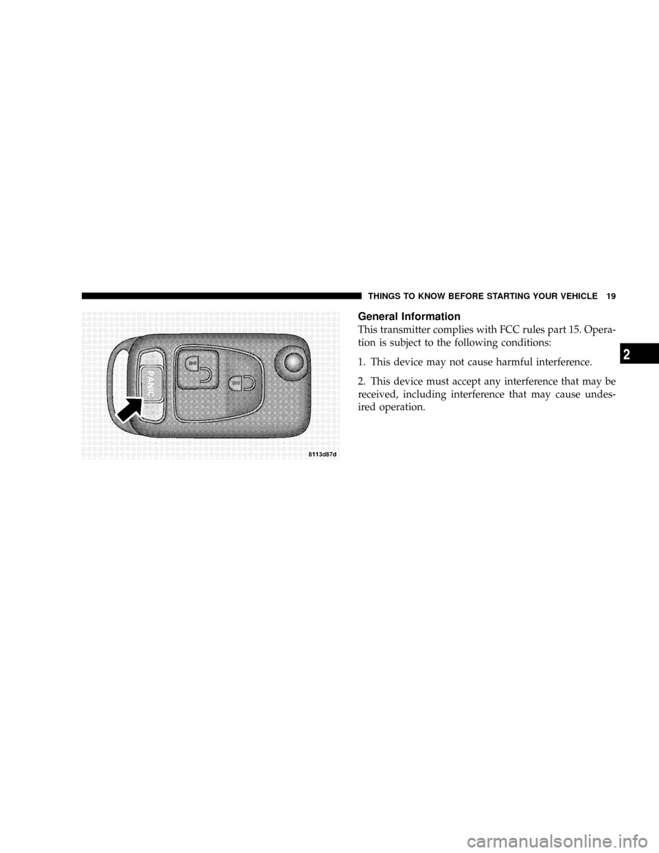 CHRYSLER CROSSFIRE 2008 1.G Owners Manual, Page 21