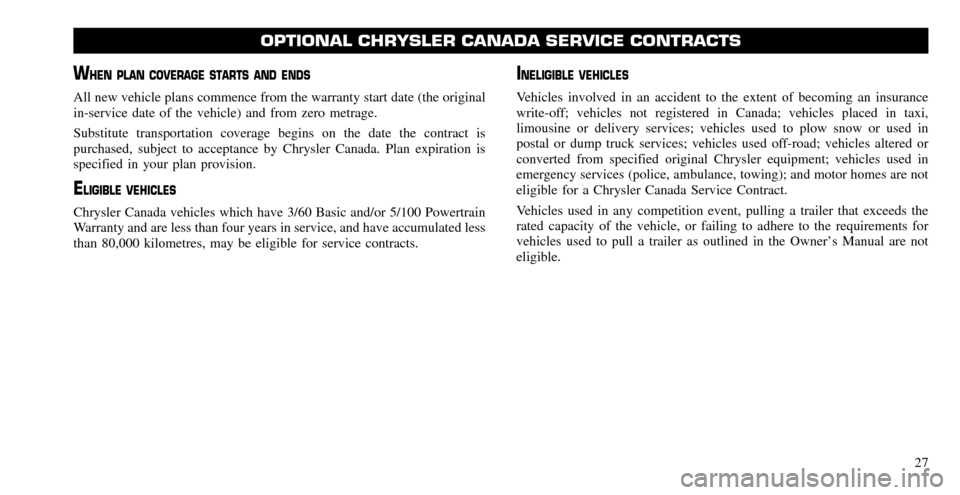 CHRYSLER TOWN AND COUNTRY 2010 5.G Warranty Booklet, Page 25