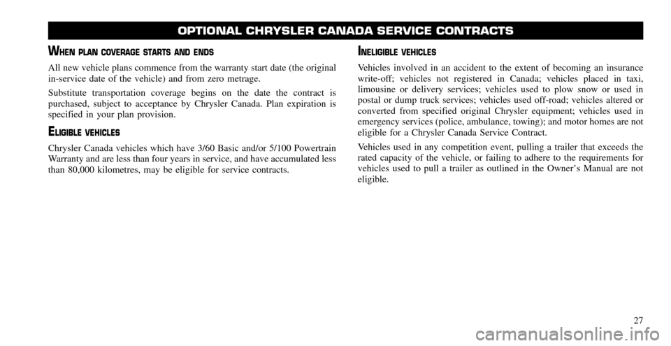 CHRYSLER TOWN AND COUNTRY 2011 5.G Warranty Booklet, Page 27
