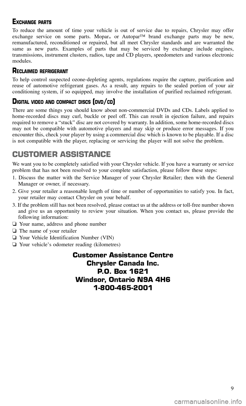 CHRYSLER TOWN AND COUNTRY 2015 5.G Warranty Booklet, Page 11