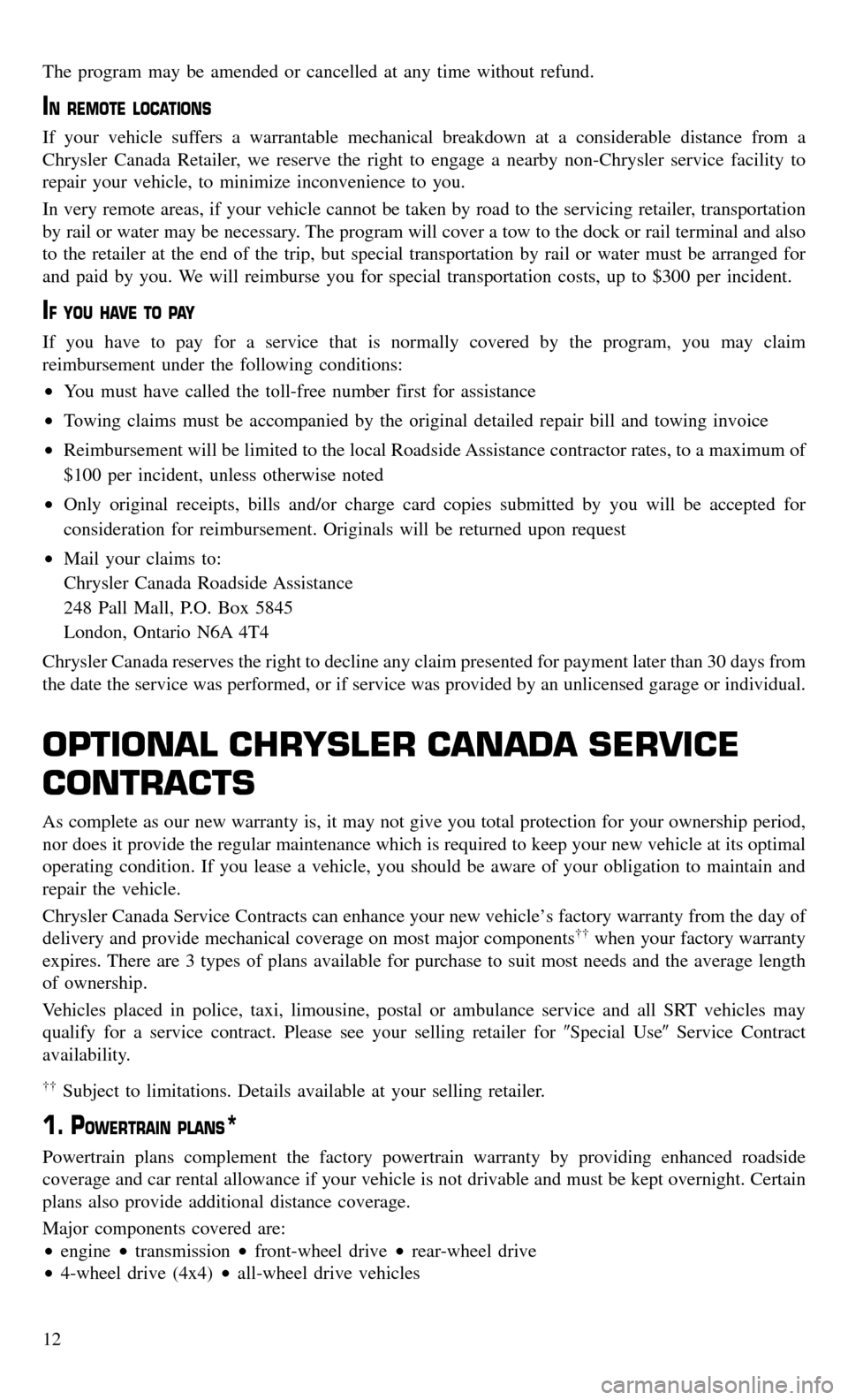 CHRYSLER TOWN AND COUNTRY 2015 5.G Warranty Booklet, Page 14