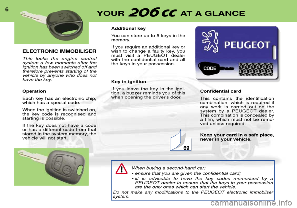 Peugeot 206 CC 2001.5  Owners Manual ELECTRONIC IMMOBILISER This locks the engine control system a few moments after theignition has been switched off andtherefore prevents starting of thevehicle by anyone who does not have the key. Oper