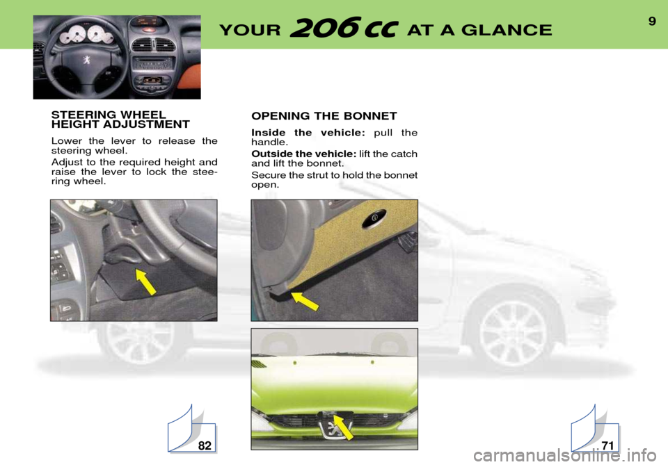 Peugeot 206 CC 2001.5  Owners Manual 9YOUR AT A GLANCE STEERING WHEEL HEIGHT ADJUSTMENT Lower the lever to release the steering wheel. Adjust to the required height and raise the lever to lock the stee-ring wheel. OPENING THE BONNET Insi
