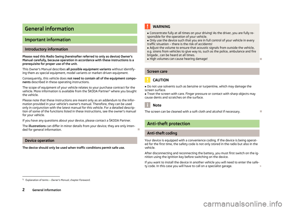 SKODA ROOMSTER 2013 1.G Swing Car Radio Manual, Page 4