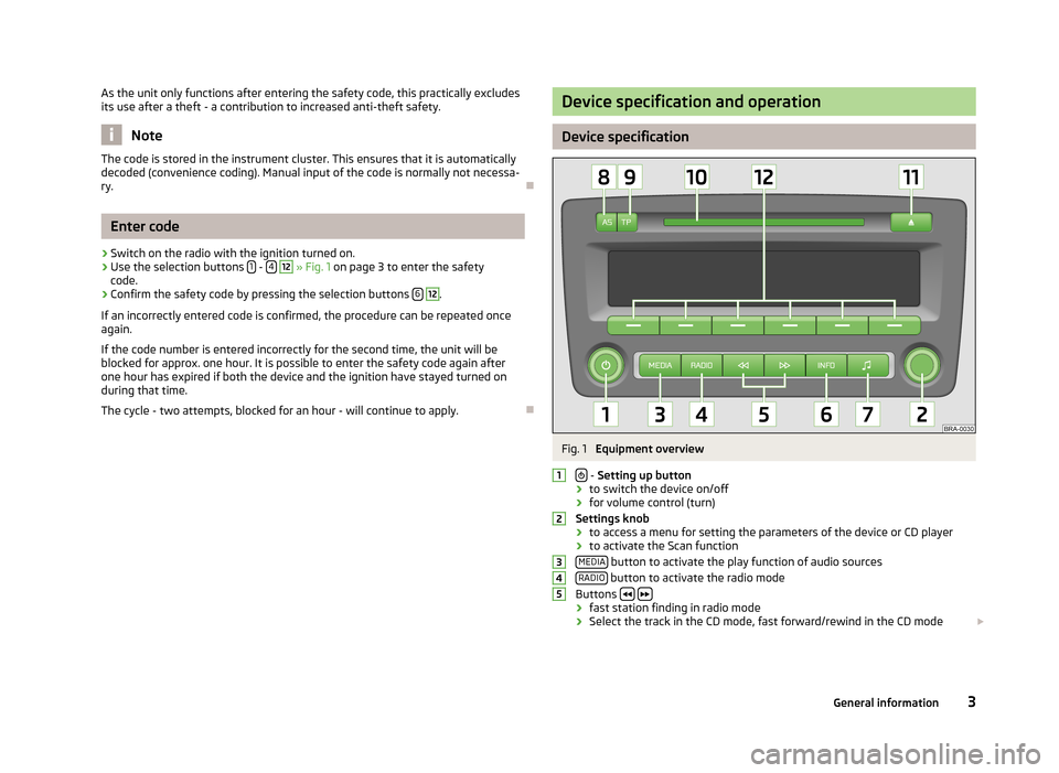 SKODA ROOMSTER 2013 1.G Swing Car Radio Manual, Page 5