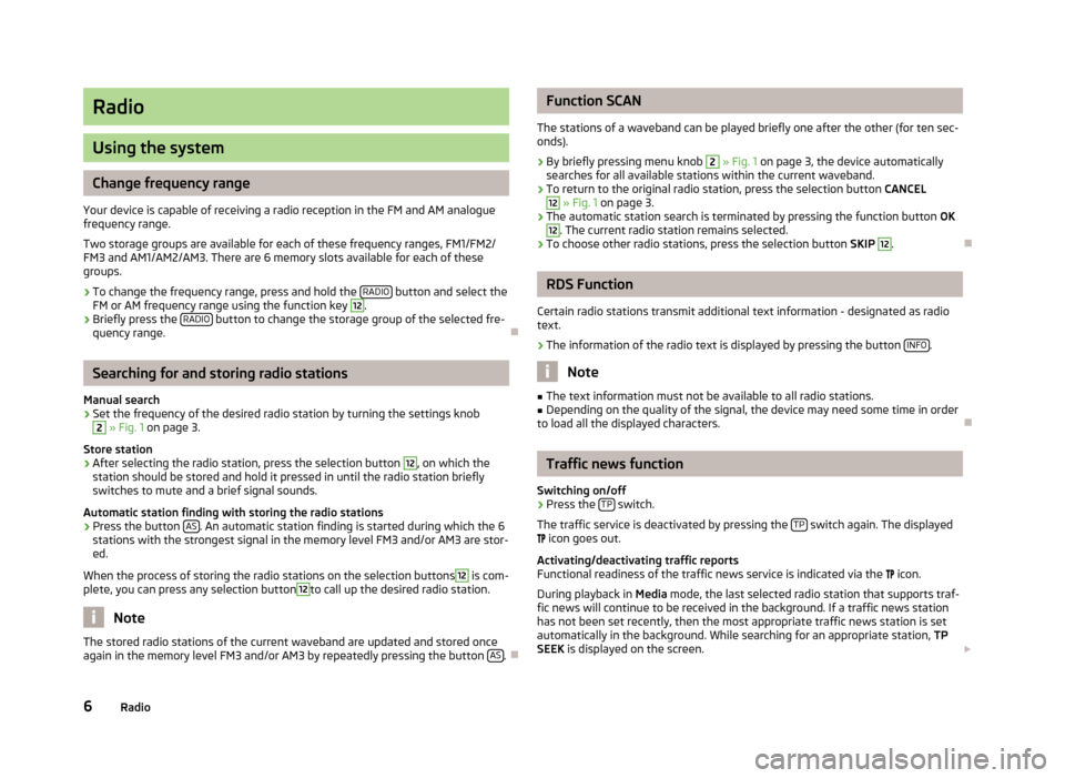 SKODA ROOMSTER 2013 1.G Swing Car Radio Manual, Page 8