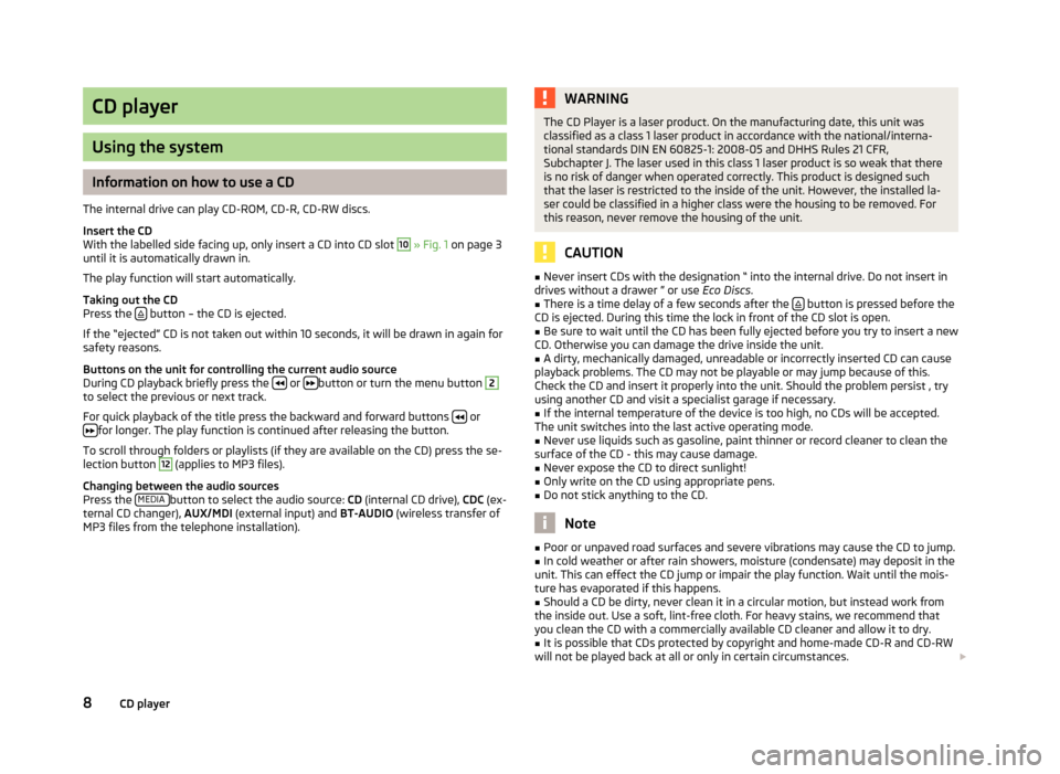 SKODA ROOMSTER 2013 1.G Swing Car Radio Manual, Page 10